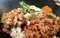 assiette de natto, soja et riz
