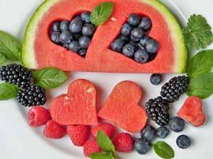fruits et coeurs